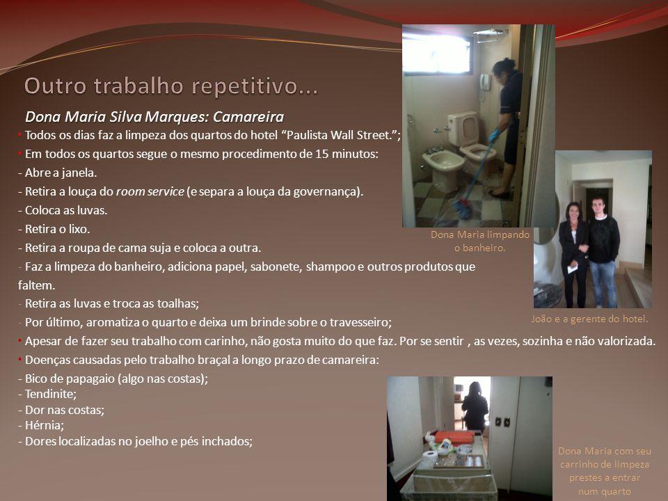 Todos os dias faz a limpeza dos quartos do hotel Paulista Wall Street.; Em todos os quartos segue o mesmo procedimento de 15 minutos: - Abre a janela.