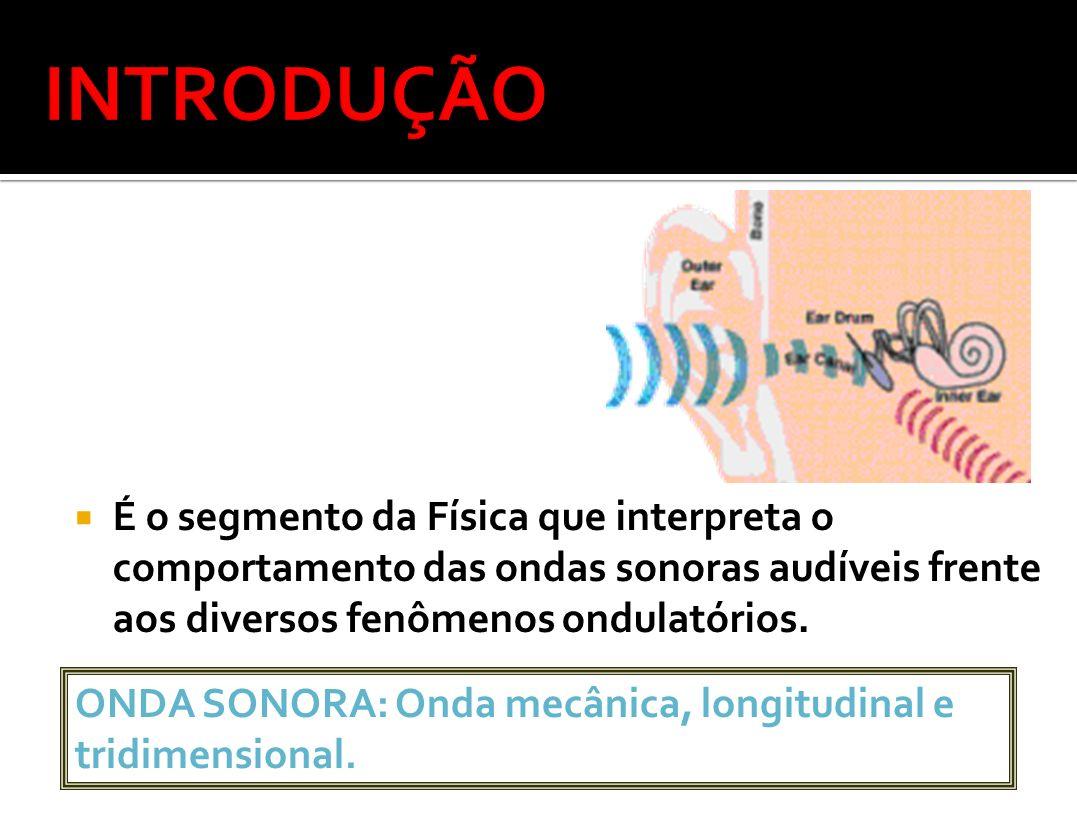 É o segmento da Física que interpreta o comportamento das ondas sonoras audíveis frente aos diversos fenômenos ondulatórios. ONDA SONORA: Onda mecânic