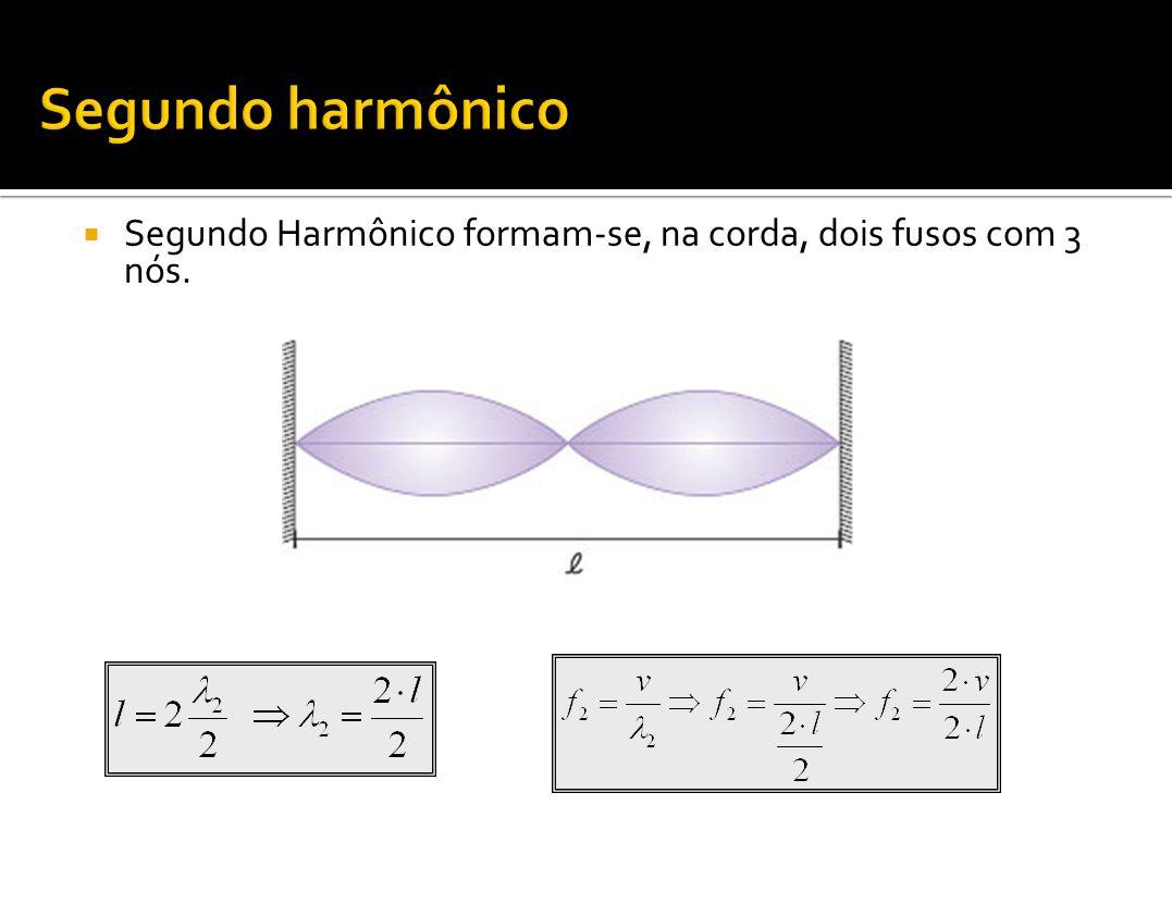 Segundo Harmônico formam-se, na corda, dois fusos com 3 nós.