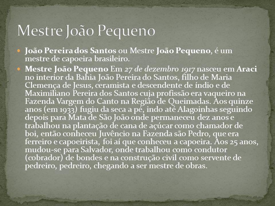 João Pereira dos Santos ou Mestre João Pequeno, é um mestre de capoeira brasileiro. Mestre João Pequeno Em 27 de dezembro 1917 nasceu em Araci no inte