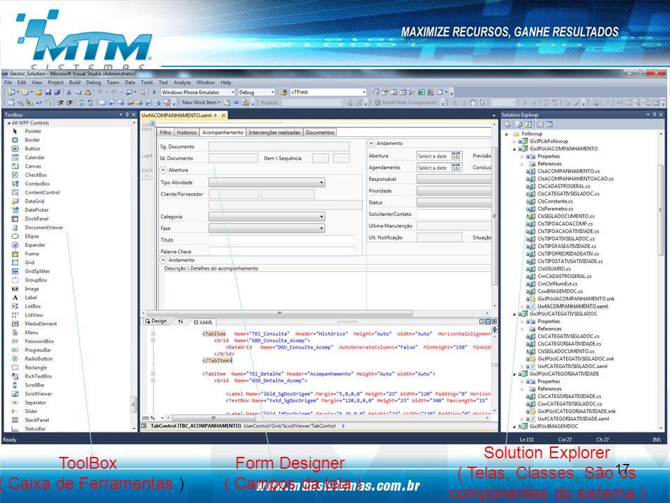 ToolBox ( Caixa de Ferramentas ) Form Designer ( Campos da tela ) Solution Explorer ( Telas, Classes.