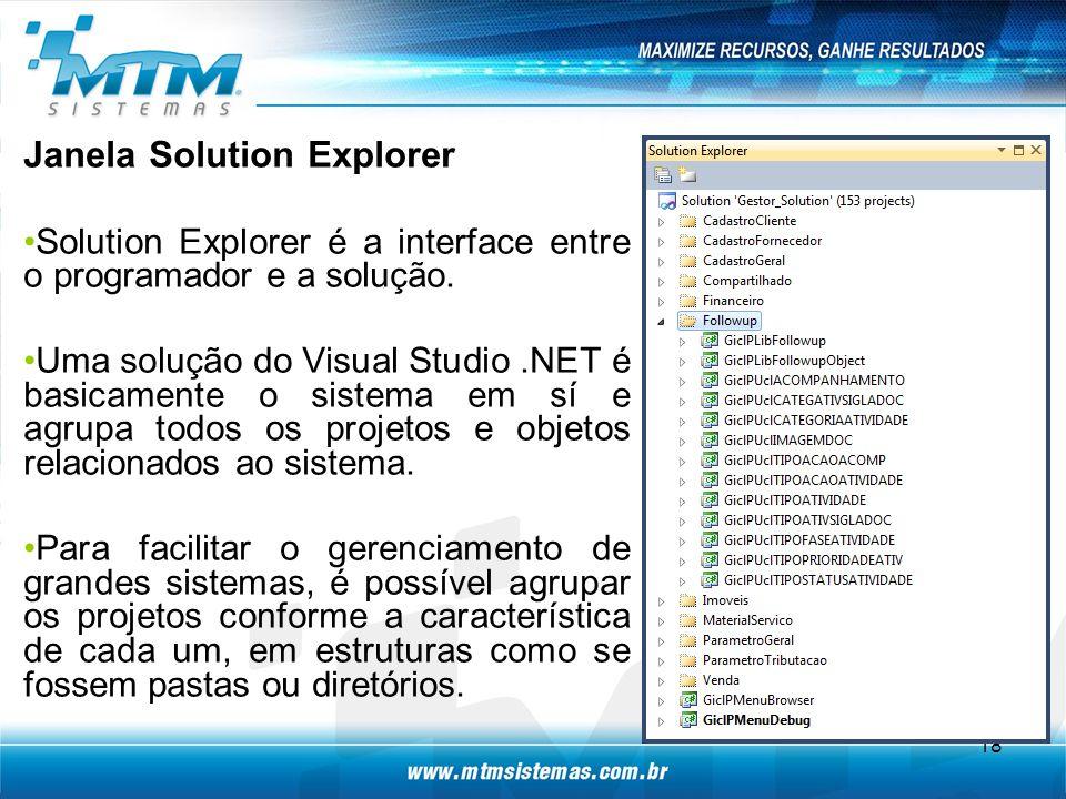 Janela Solution Explorer Solution Explorer é a interface entre o programador e a solução.
