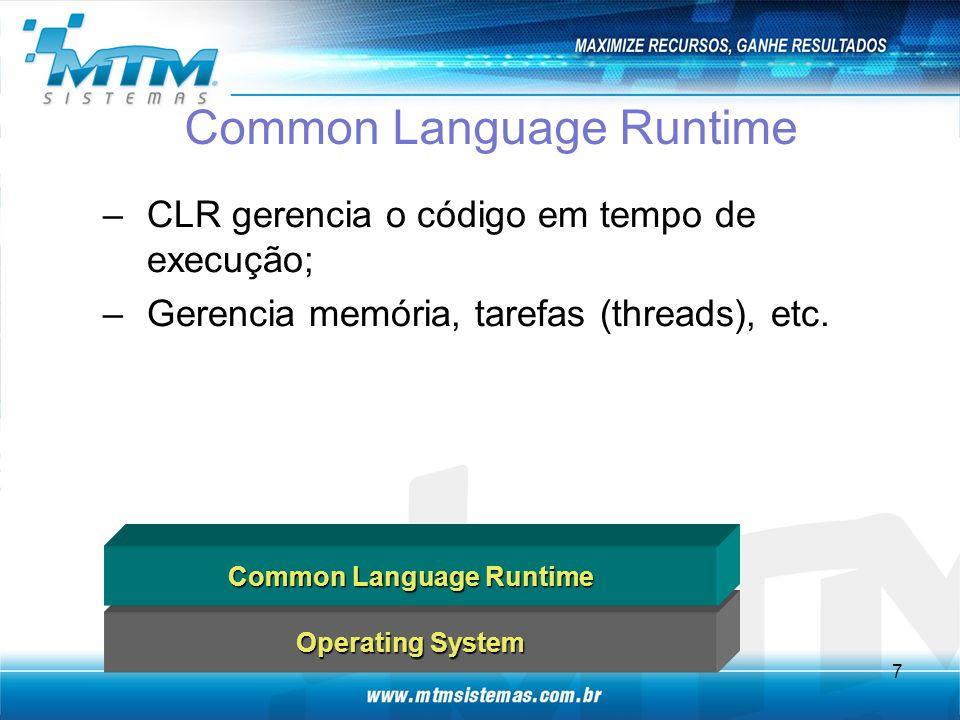 Common Language Runtime –CLR gerencia o código em tempo de execução; –Gerencia memória, tarefas (threads), etc.