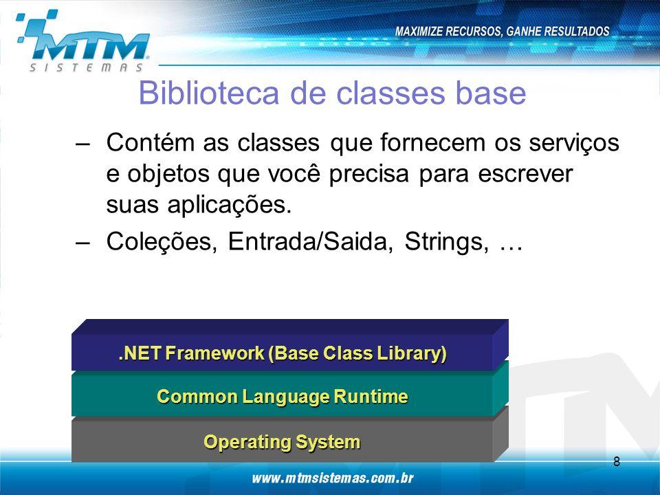 Biblioteca de classes base –Contém as classes que fornecem os serviços e objetos que você precisa para escrever suas aplicações.