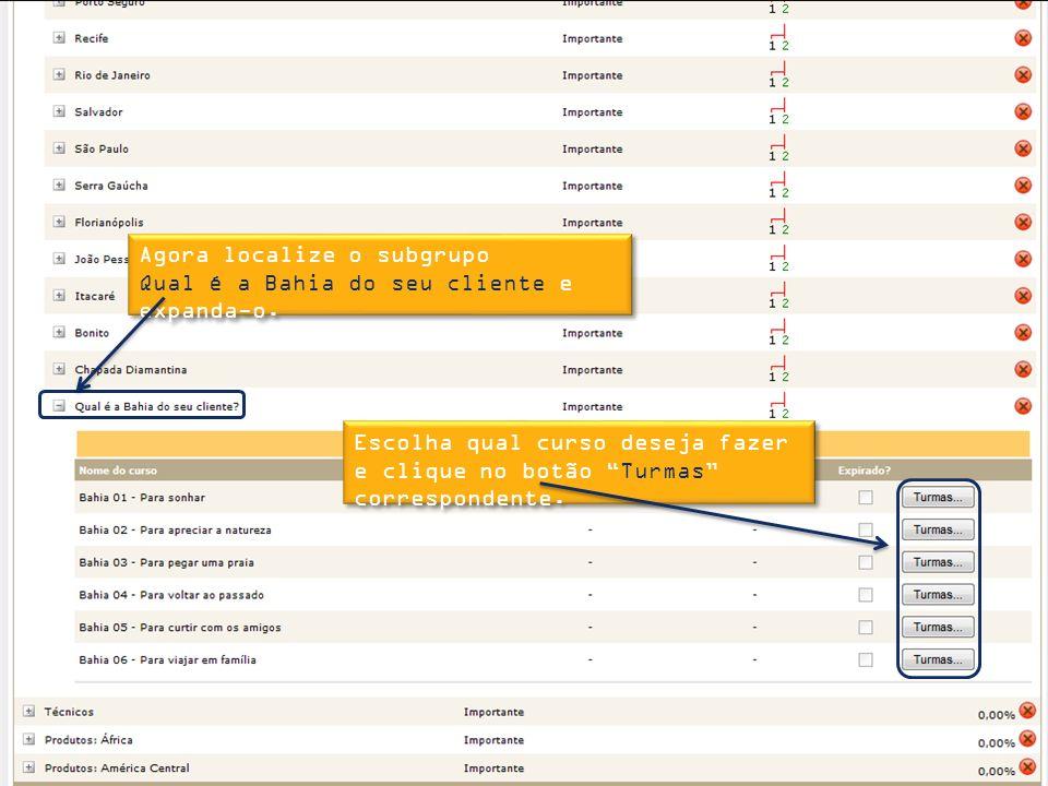 Agora localize o subgrupo Qual é a Bahia do seu cliente e expanda-o.