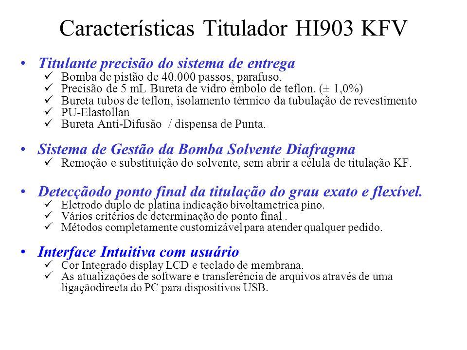 Características Titulador HI903 KFV Titulante precisão do sistema de entrega Bomba de pistão de 40.000 passos, parafuso. Precisão de 5 mL Bureta de vi