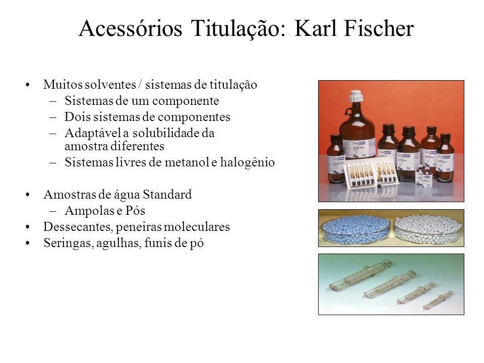 Acessórios Titulação: Karl Fischer Muitos solventes / sistemas de titulação –Sistemas de um componente –Dois sistemas de componentes –Adaptável a solu