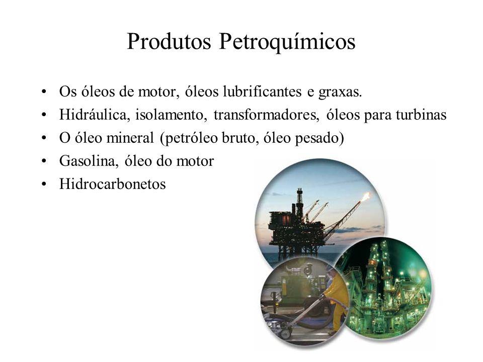 Produtos Petroquímicos Os óleos de motor, óleos lubrificantes e graxas. Hidráulica, isolamento, transformadores, óleos para turbinas O óleo mineral (p