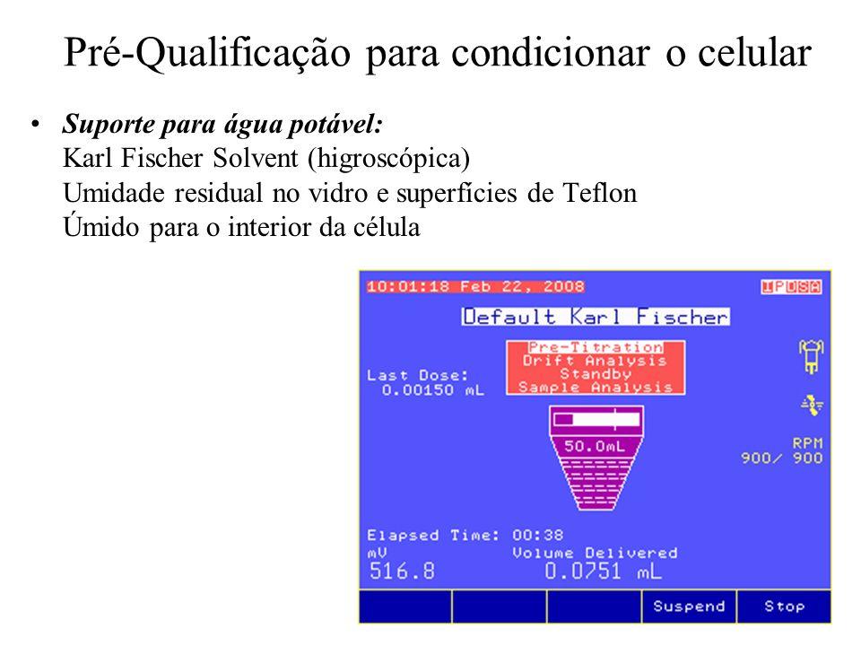 Pré-Qualificação para condicionar o celular Suporte para água potável: Karl Fischer Solvent (higroscópica) Umidade residual no vidro e superfícies de