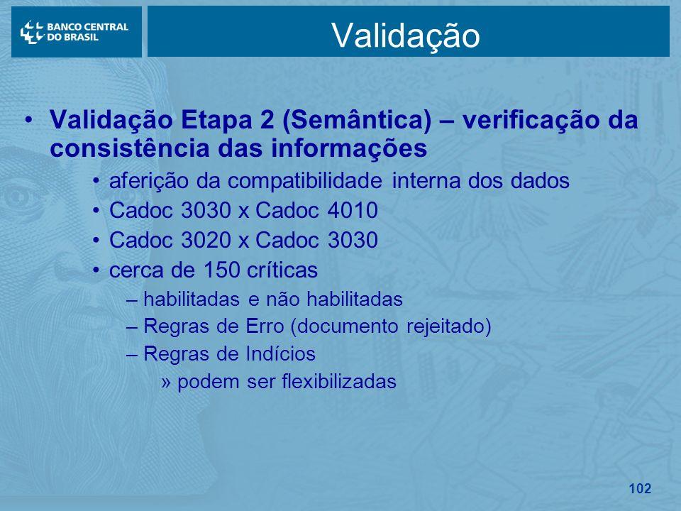 102 Validação Validação Etapa 2 (Semântica) – verificação da consistência das informações aferição da compatibilidade interna dos dados Cadoc 3030 x C