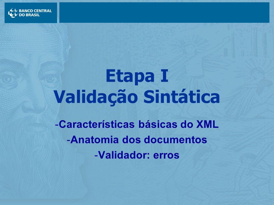 Etapa I Validação Sintática -Características básicas do XML -Anatomia dos documentos -Validador: erros