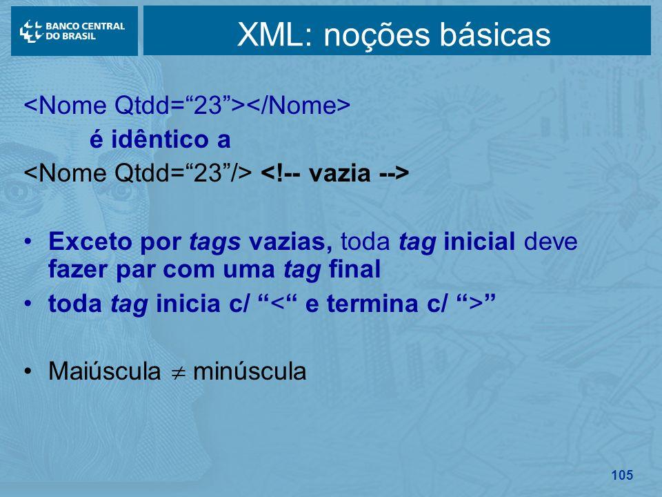 105 XML: noções básicas é idêntico a Exceto por tags vazias, toda tag inicial deve fazer par com uma tag final toda tag inicia c/ Maiúscula minúscula