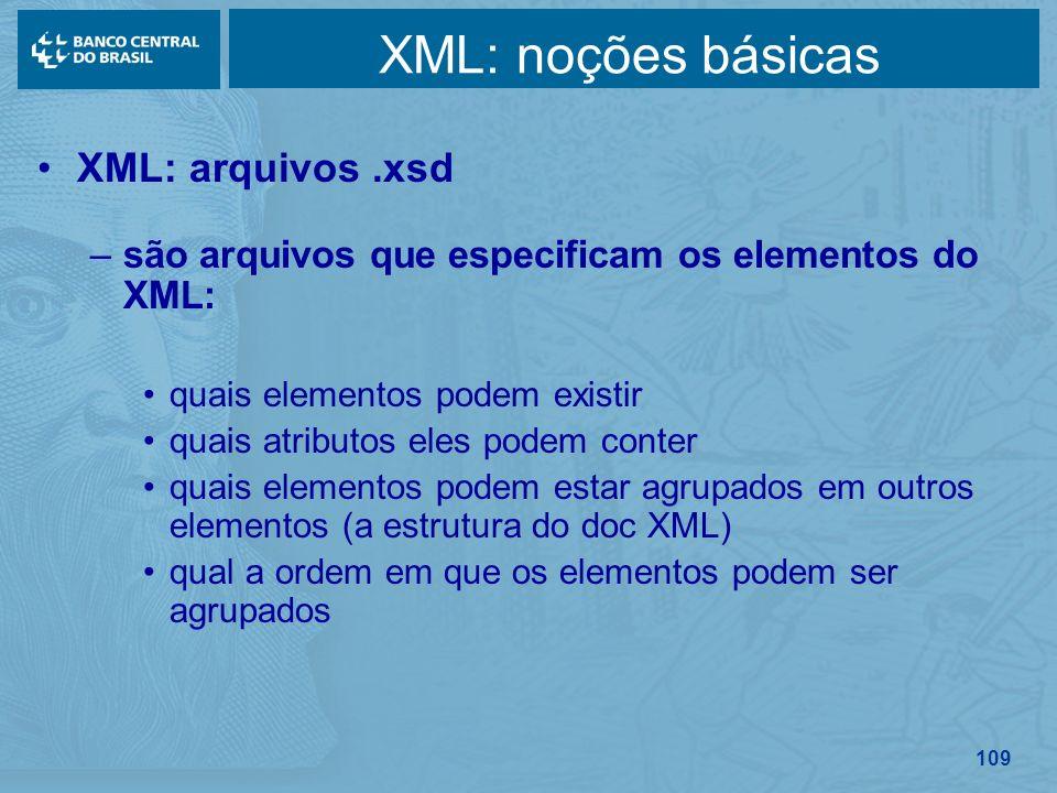 109 XML: noções básicas XML: arquivos.xsd –são arquivos que especificam os elementos do XML: quais elementos podem existir quais atributos eles podem