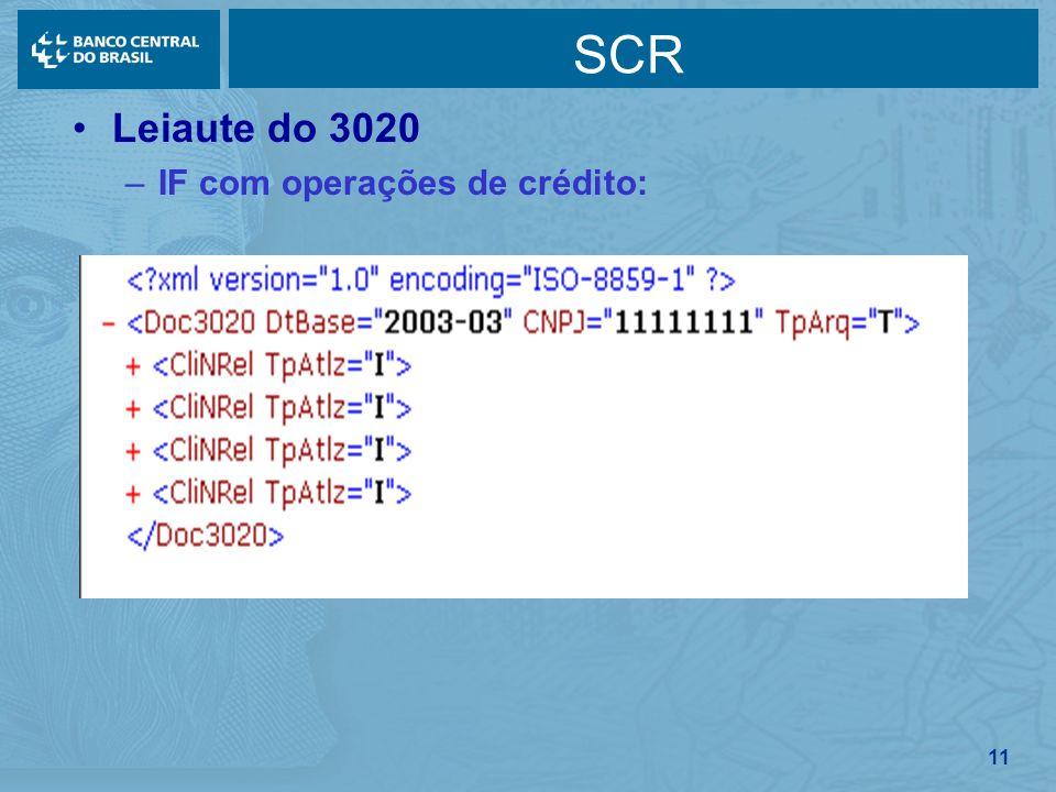 11 SCR Leiaute do 3020 –IF com operações de crédito: