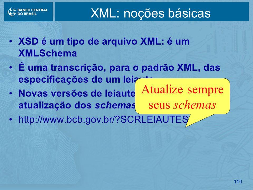 110 XML: noções básicas XSD é um tipo de arquivo XML: é um XMLSchema É uma transcrição, para o padrão XML, das especificações de um leiaute Novas vers