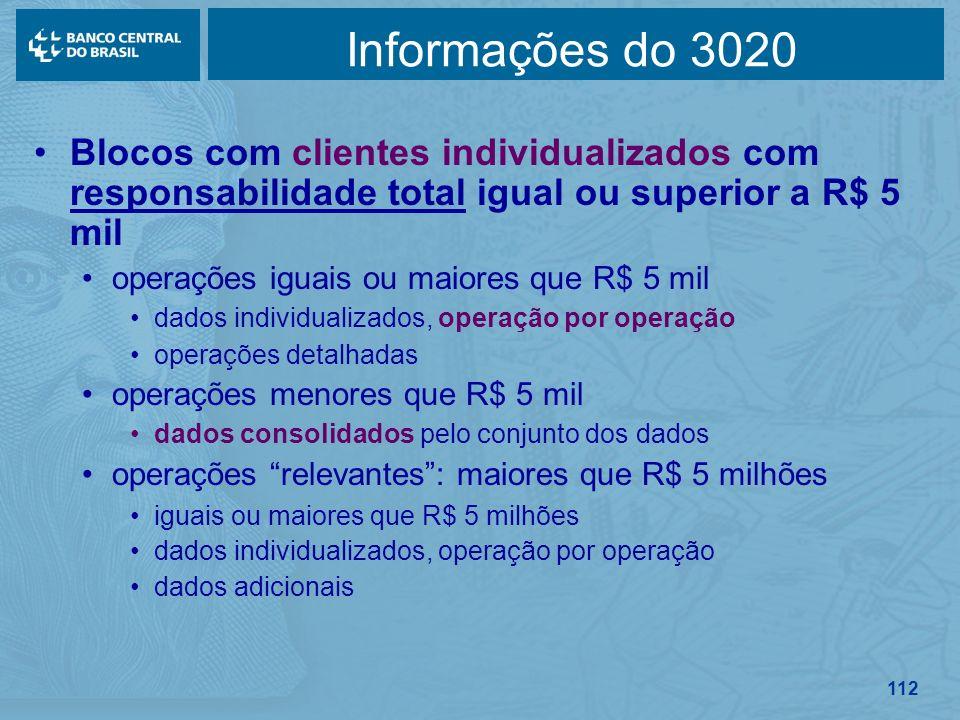 112 Informações do 3020 Blocos com clientes individualizados com responsabilidade total igual ou superior a R$ 5 mil operações iguais ou maiores que R
