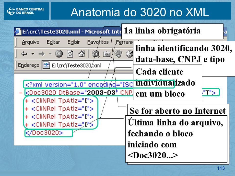 113 Anatomia do 3020 no XML Se for aberto no Internet Explorer (extensão.XML), linhas são automaticamente endentadas linha identificando 3020, data-ba