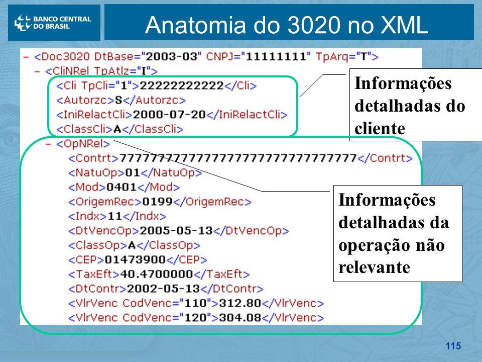 115 Anatomia do 3020 no XML Informações detalhadas do cliente Informações detalhadas da operação não relevante