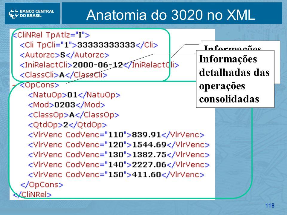 118 Anatomia do 3020 no XML Informações detalhadas do cliente Informações detalhadas das operações consolidadas