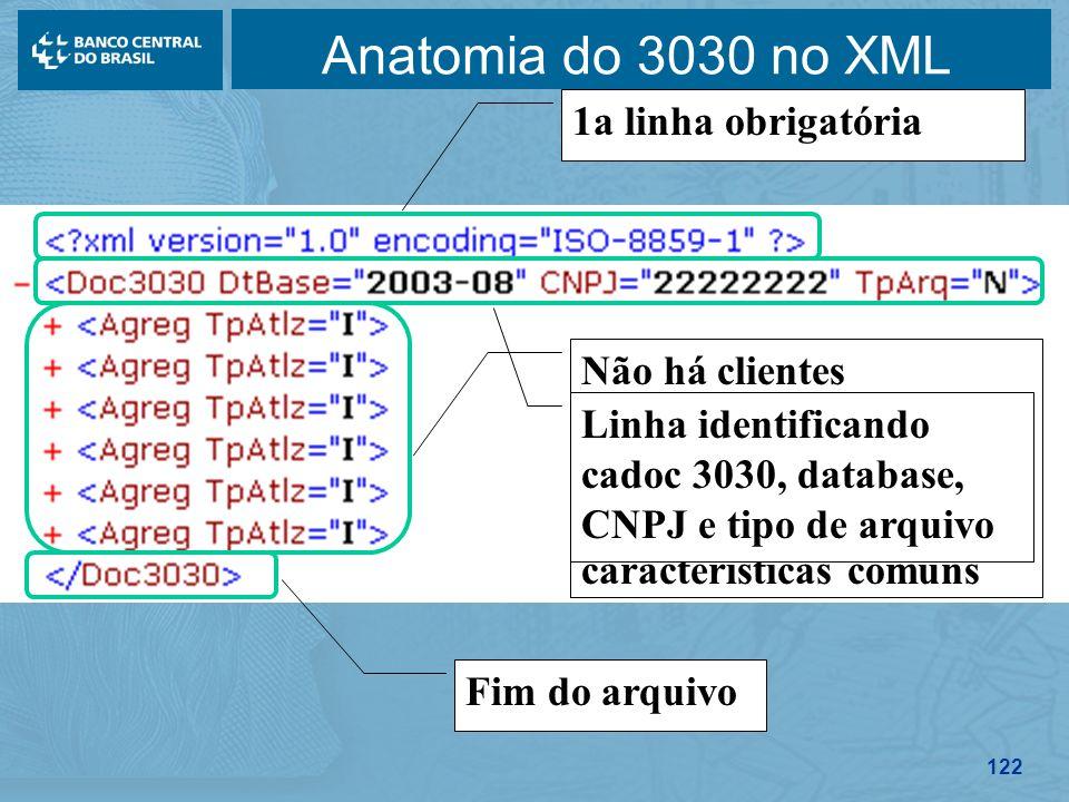 122 Anatomia do 3030 no XML Não há clientes individualizados, apenas blocos agregando operações com características comuns 1a linha obrigatória Linha