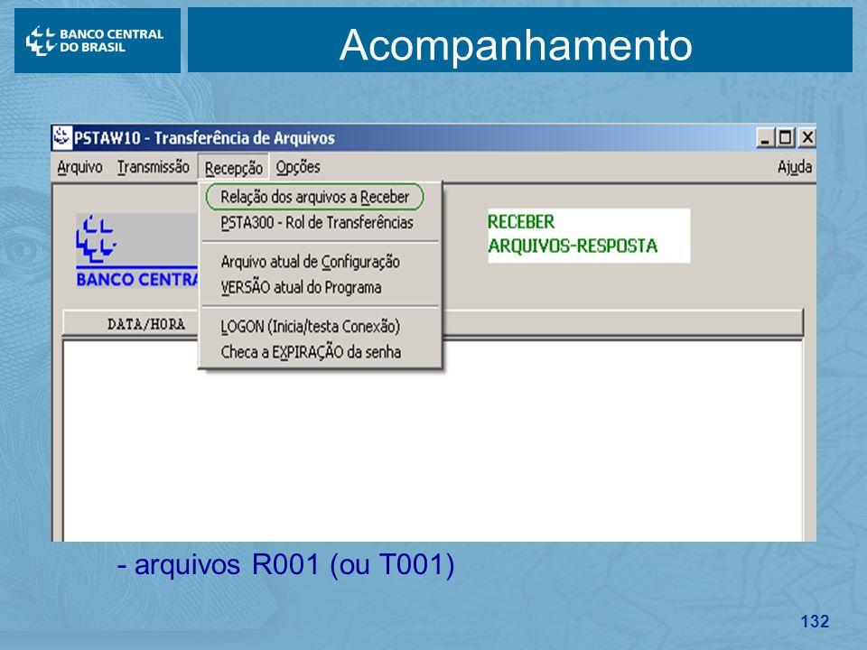 132 Acompanhamento - arquivos R001 (ou T001)