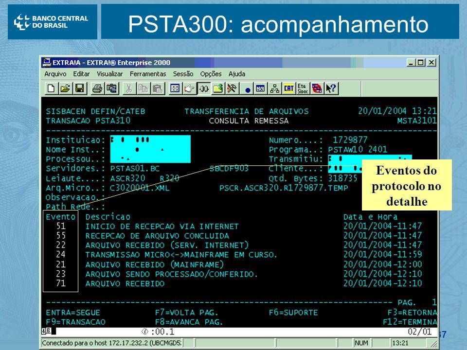 137 PSTA300: acompanhamento Eventos do protocolo no detalhe