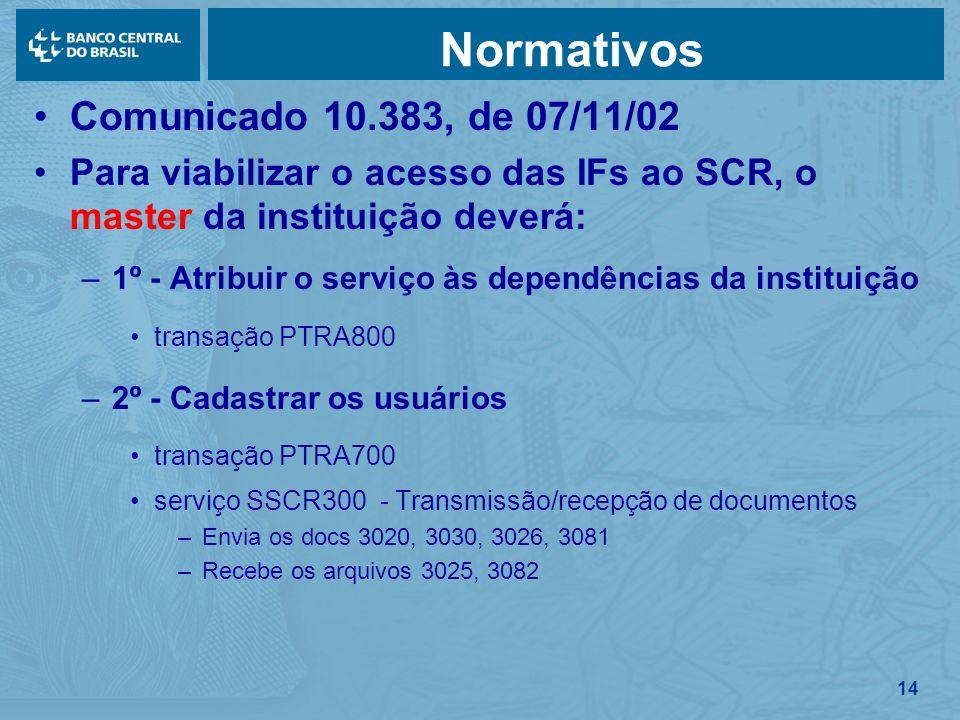 14 Normativos Comunicado 10.383, de 07/11/02 Para viabilizar o acesso das IFs ao SCR, o master da instituição deverá: –1º - Atribuir o serviço às depe