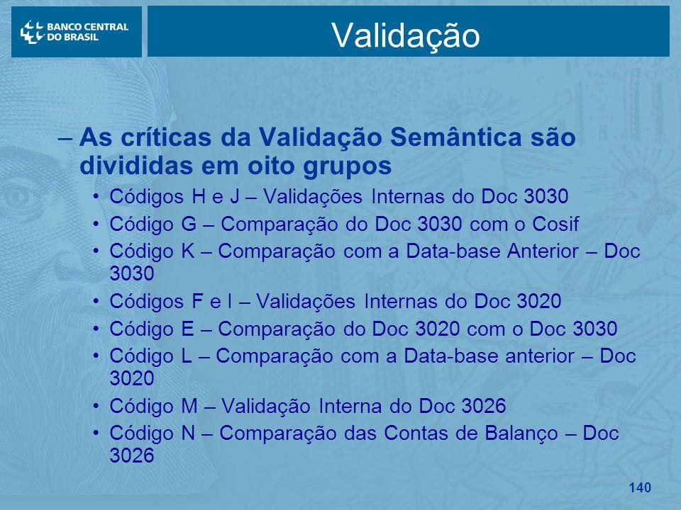 140 Validação –As críticas da Validação Semântica são divididas em oito grupos Códigos H e J – Validações Internas do Doc 3030 Código G – Comparação d