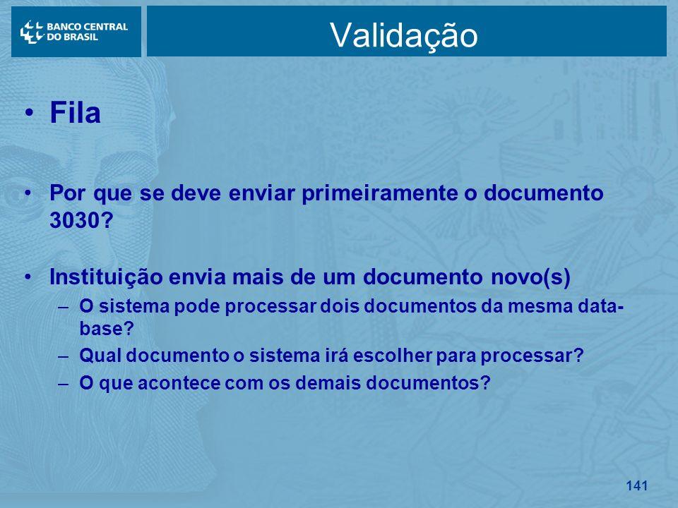 141 Validação Fila Por que se deve enviar primeiramente o documento 3030? Instituição envia mais de um documento novo(s) –O sistema pode processar doi