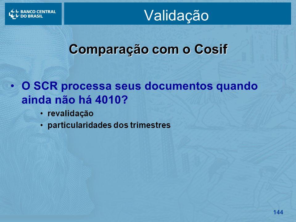 144 Validação Comparação com o Cosif O SCR processa seus documentos quando ainda não há 4010? revalidação particularidades dos trimestres