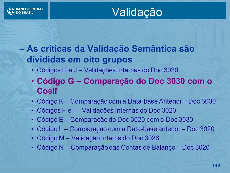 149 Validação –As críticas da Validação Semântica são divididas em oito grupos Códigos H e J – Validações Internas do Doc 3030 Código G – Comparação d