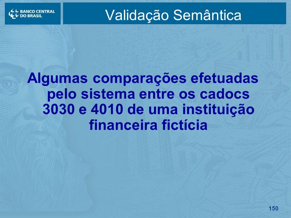 150 Validação Semântica Algumas comparações efetuadas pelo sistema entre os cadocs 3030 e 4010 de uma instituição financeira fictícia