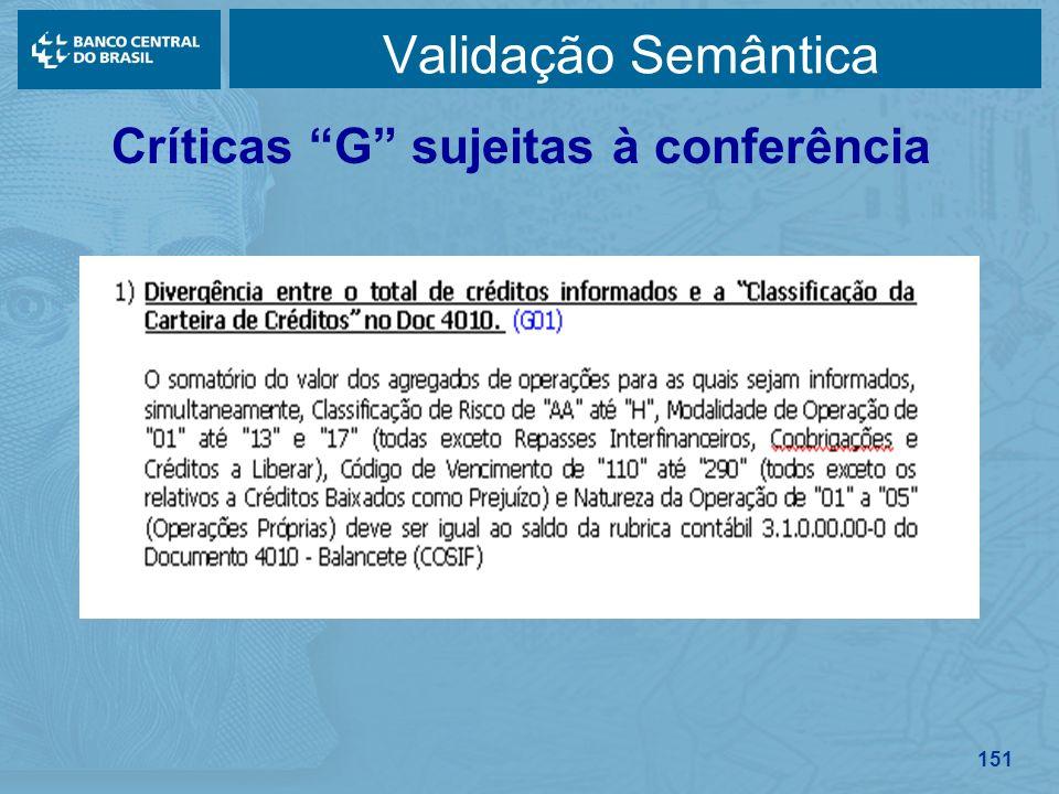151 Validação Semântica Críticas G sujeitas à conferência