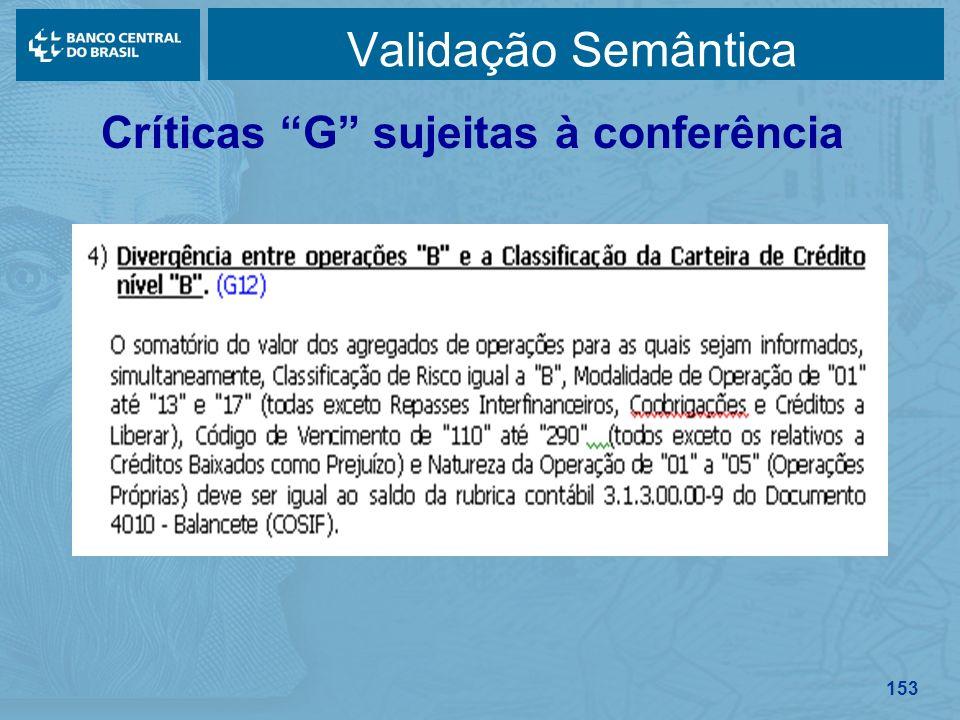 153 Validação Semântica Críticas G sujeitas à conferência