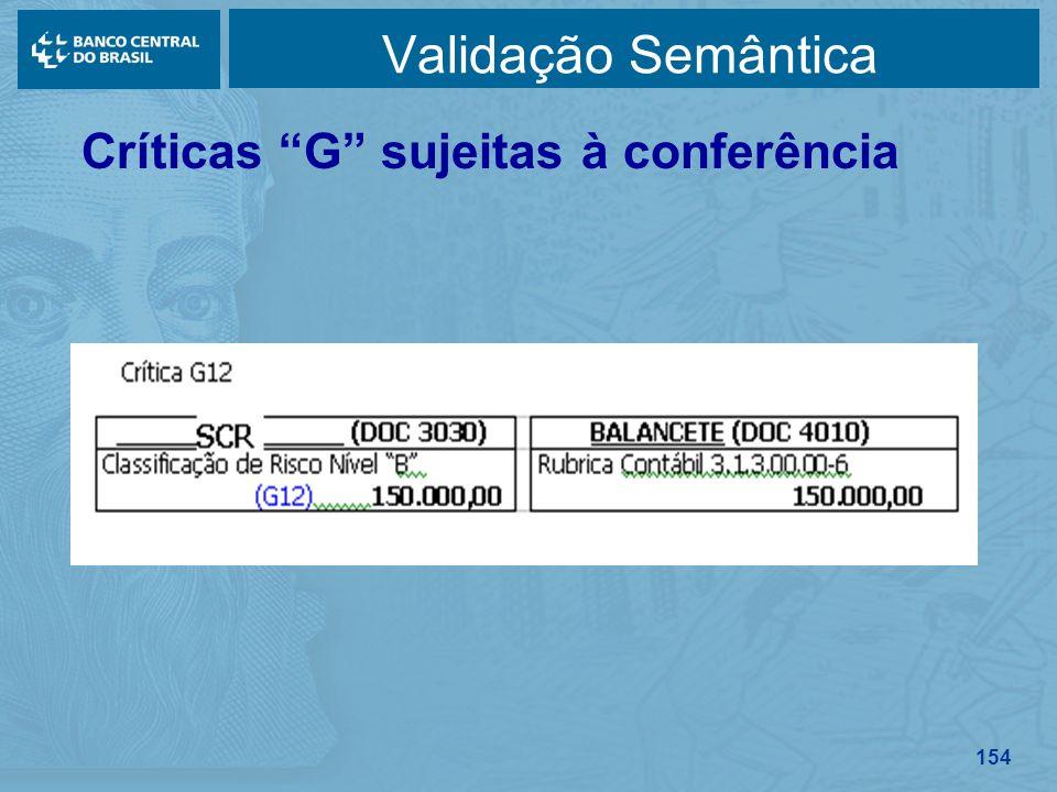 154 Validação Semântica Críticas G sujeitas à conferência