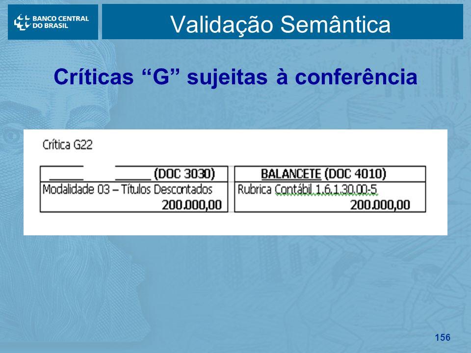 156 Validação Semântica Críticas G sujeitas à conferência