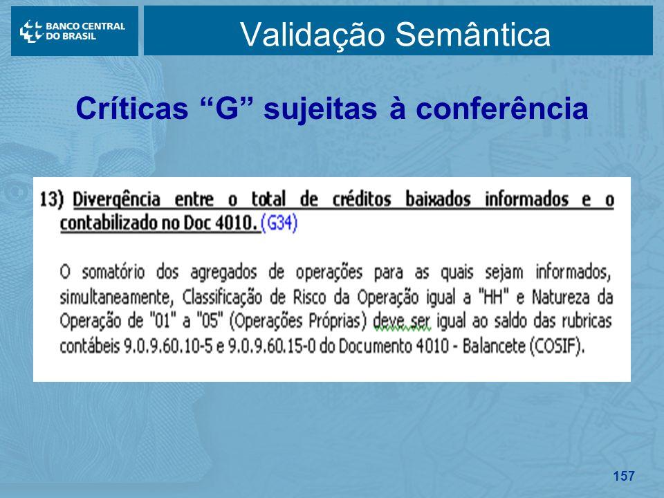 157 Validação Semântica Críticas G sujeitas à conferência
