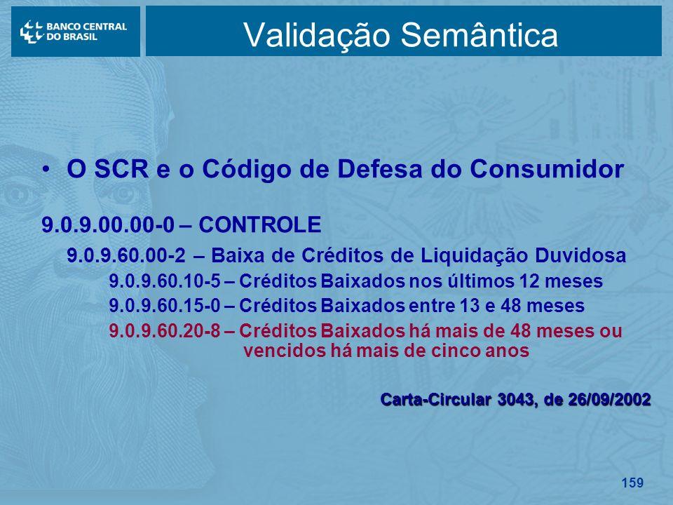159 Validação Semântica O SCR e o Código de Defesa do Consumidor 9.0.9.00.00-0 – CONTROLE 9.0.9.60.00-2 – Baixa de Créditos de Liquidação Duvidosa 9.0