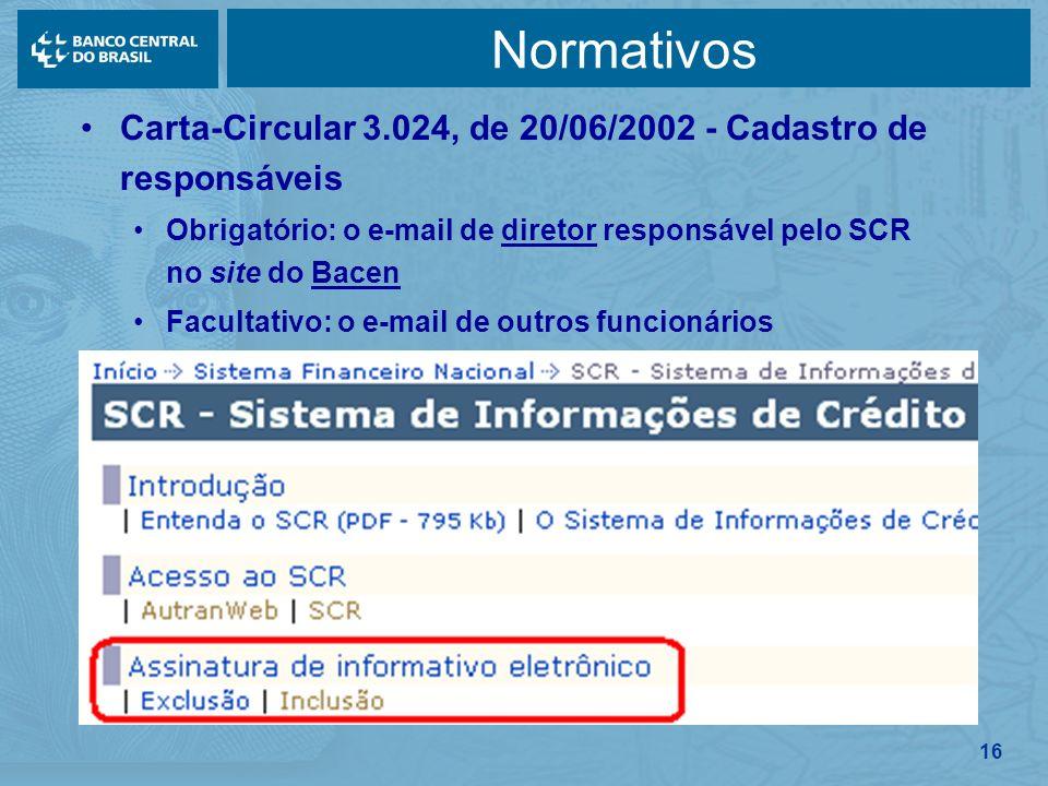 16 Normativos Carta-Circular 3.024, de 20/06/2002 - Cadastro de responsáveis Obrigatório: o e-mail de diretor responsável pelo SCR no site do Bacen Fa
