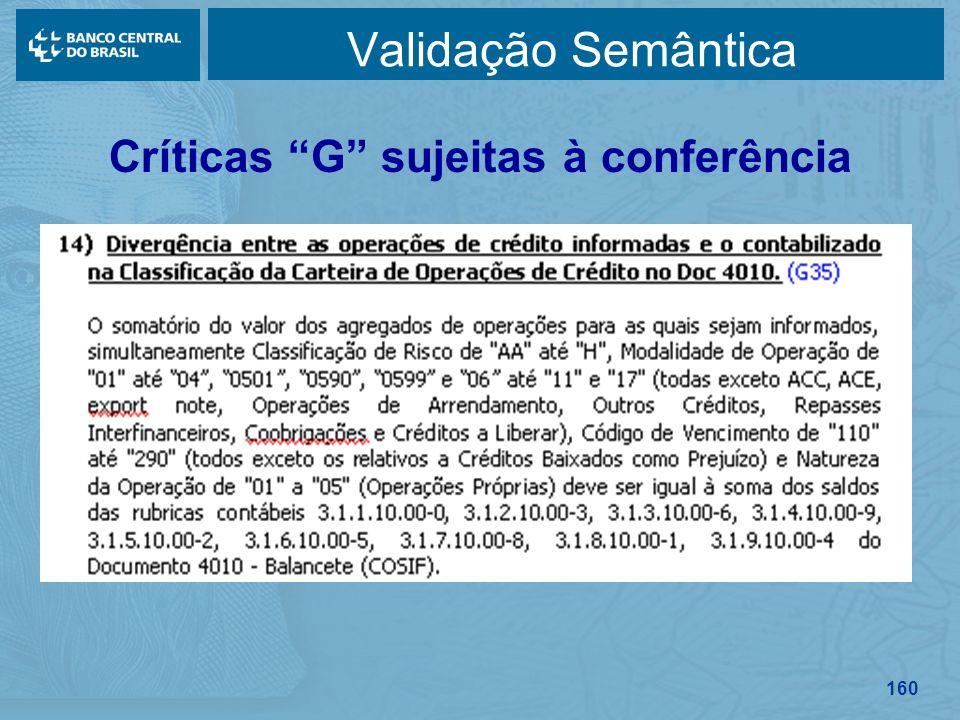 160 Validação Semântica Críticas G sujeitas à conferência