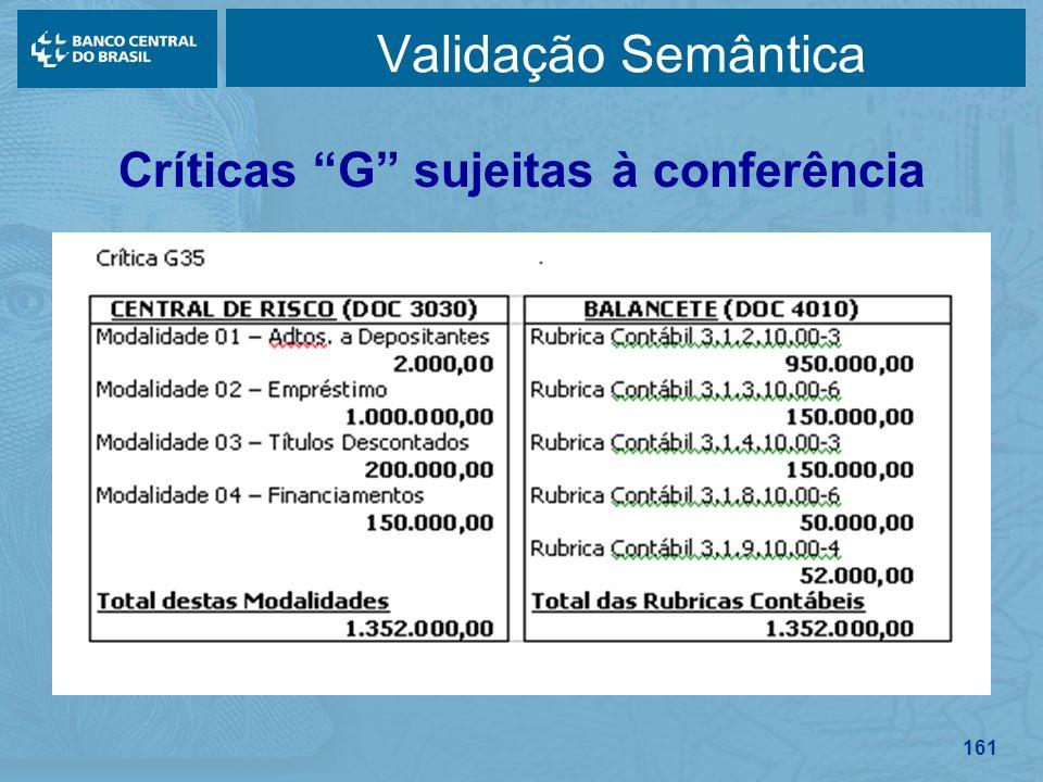 161 Validação Semântica Críticas G sujeitas à conferência