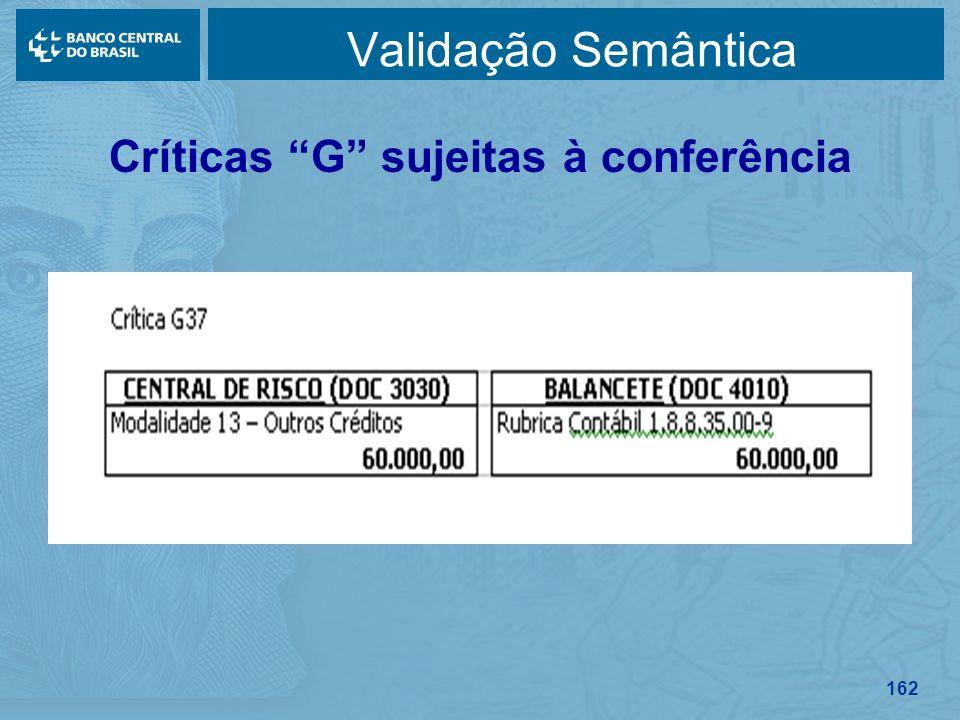 162 Validação Semântica Críticas G sujeitas à conferência