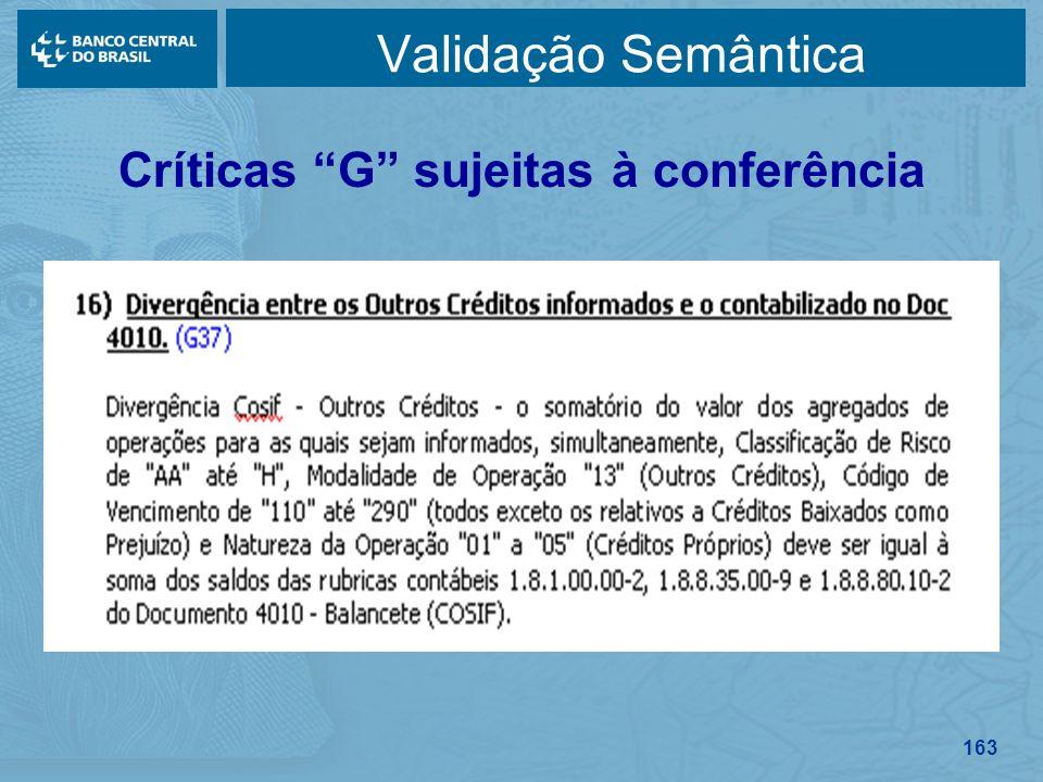163 Validação Semântica Críticas G sujeitas à conferência
