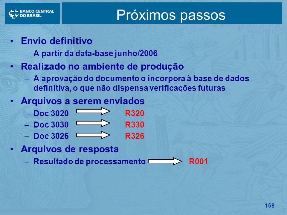 168 Próximos passos Envio definitivo –A partir da data-base junho/2006 Realizado no ambiente de produção –A aprovação do documento o incorpora à base