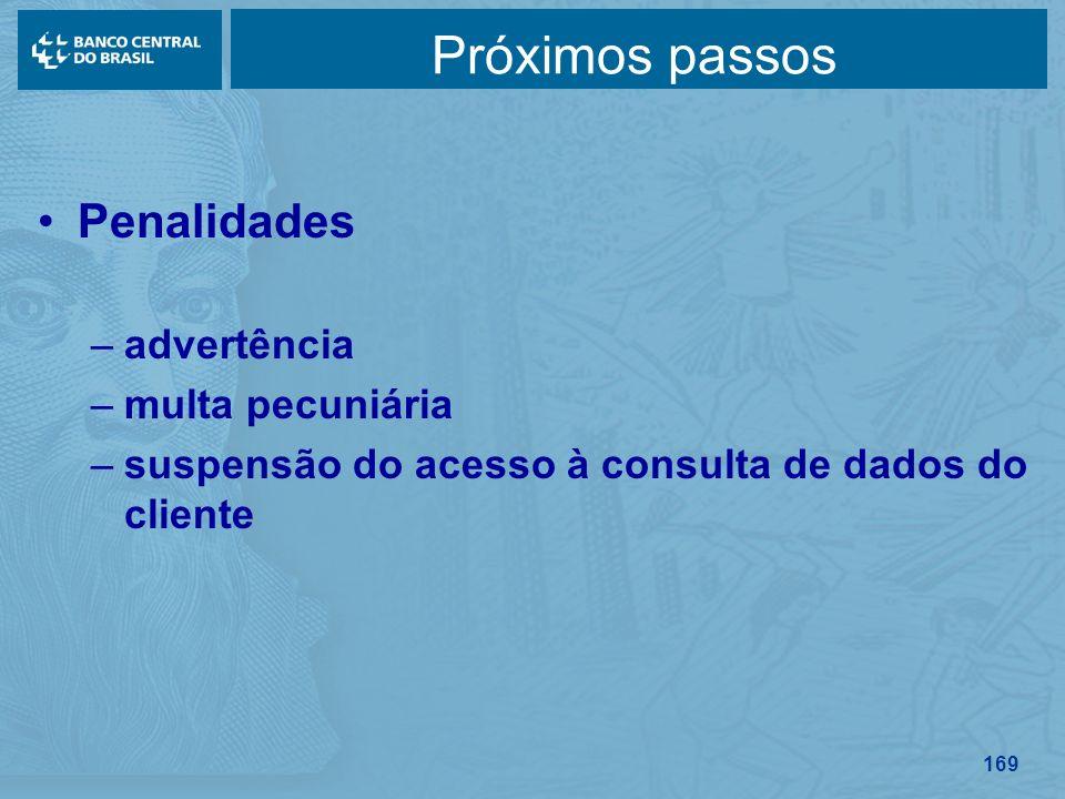 169 Próximos passos Penalidades –advertência –multa pecuniária –suspensão do acesso à consulta de dados do cliente