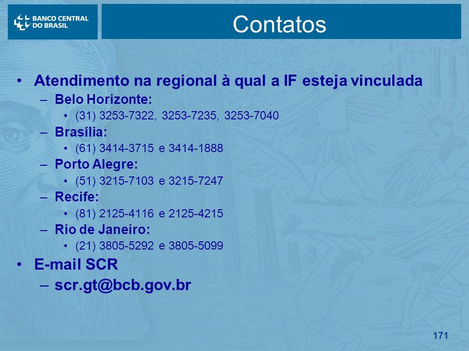 171 Contatos Atendimento na regional à qual a IF esteja vinculada –Belo Horizonte: (31) 3253-7322, 3253-7235, 3253-7040 –Brasília: (61) 3414-3715 e 34