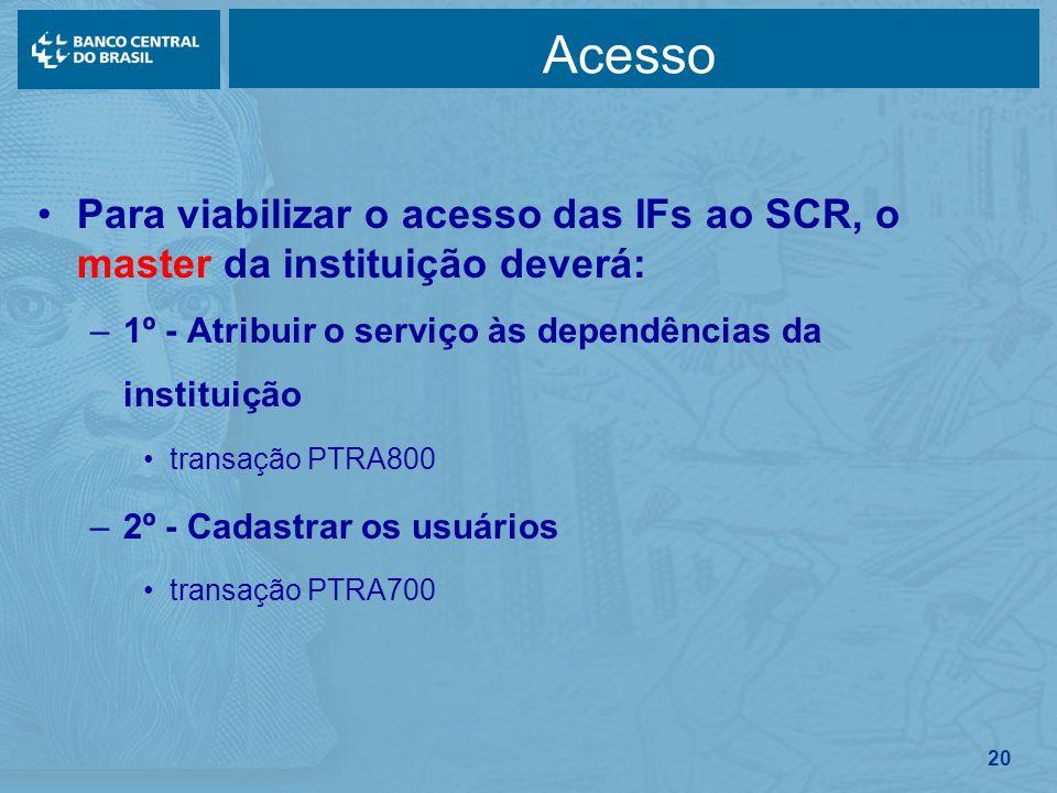 20 Acesso Para viabilizar o acesso das IFs ao SCR, o master da instituição deverá: –1º - Atribuir o serviço às dependências da instituição transação P