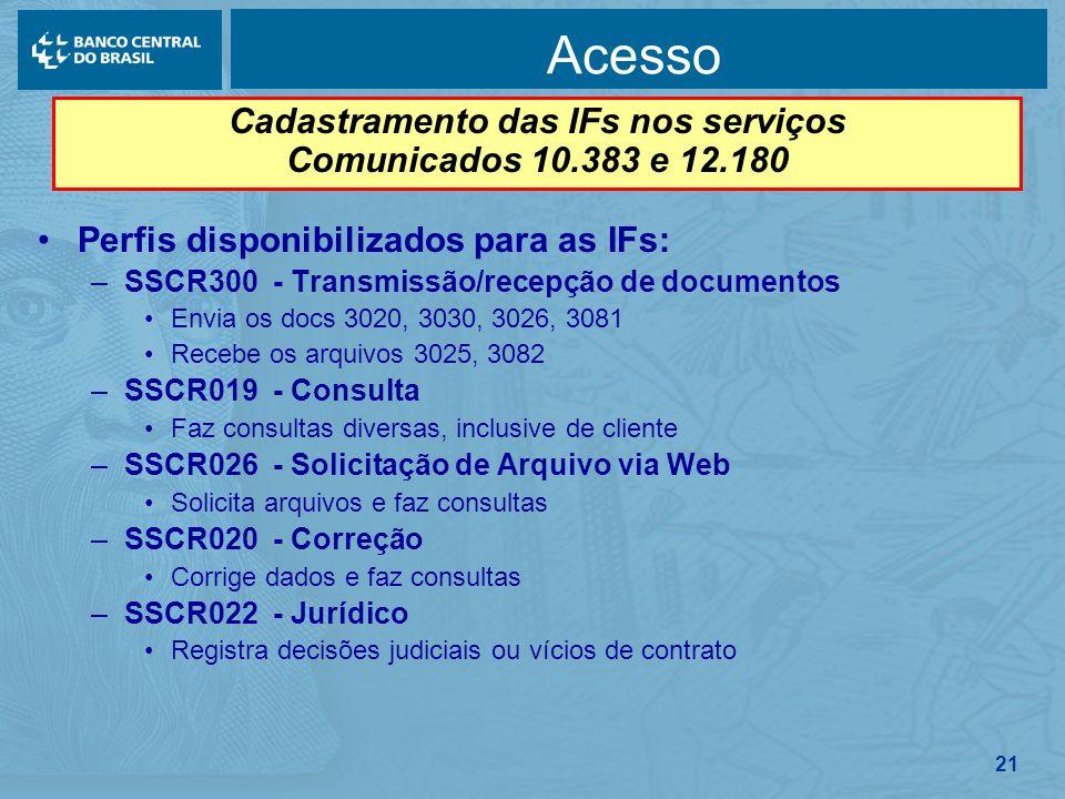 21 Acesso Perfis disponibilizados para as IFs: –SSCR300 - Transmissão/recepção de documentos Envia os docs 3020, 3030, 3026, 3081 Recebe os arquivos 3