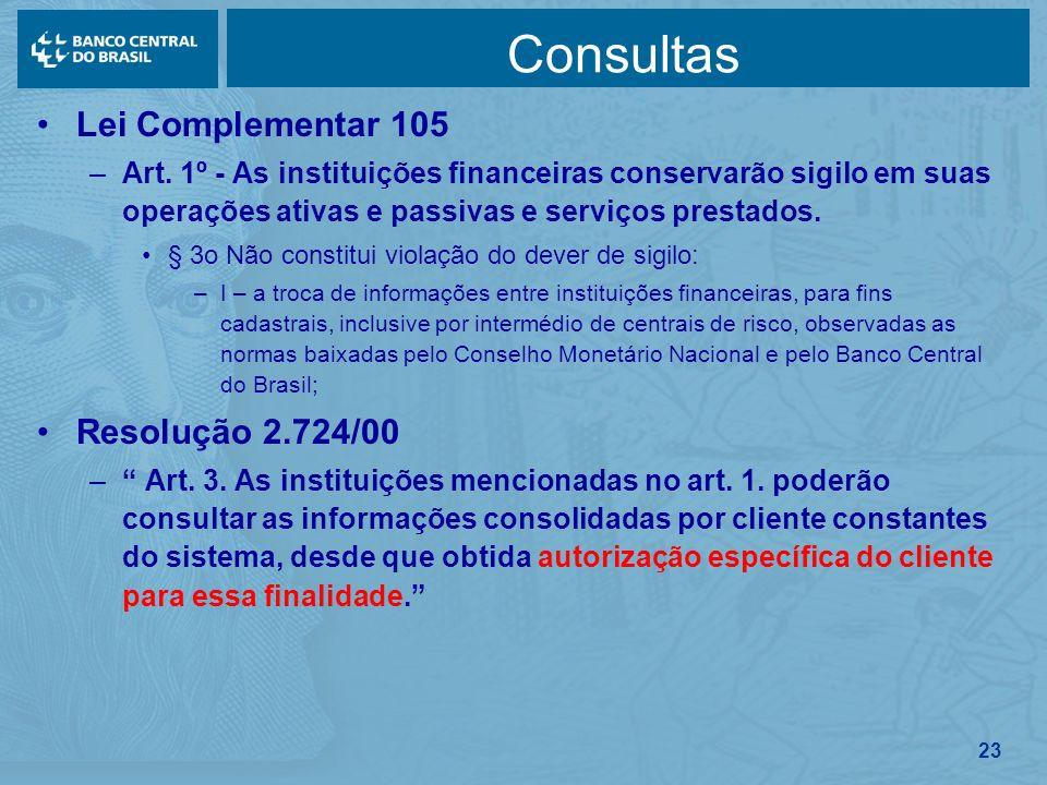 23 Consultas Lei Complementar 105 –Art. 1º - As instituições financeiras conservarão sigilo em suas operações ativas e passivas e serviços prestados.