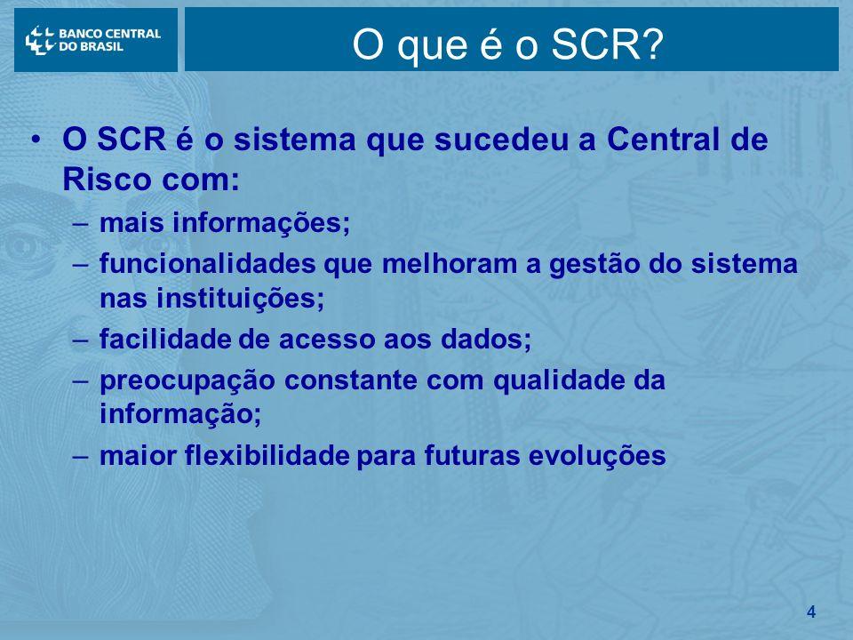 4 O SCR é o sistema que sucedeu a Central de Risco com: –mais informações; –funcionalidades que melhoram a gestão do sistema nas instituições; –facili